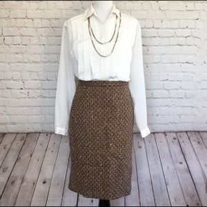 Ann Taylor Loft Brown Wool Pencil Skirt